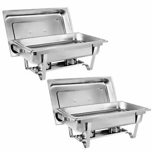 2 Packs Chafing Dish 8 Quart Stainless Steel Rectangular Chafer Full Size Buffet