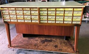 Library Card Catalog File Wooden Back Shelves 30 Drawers