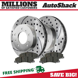 Front Drilled Slotted Rotors Ceramic Pads For 2006 2013 Chevrolet Impala Silver