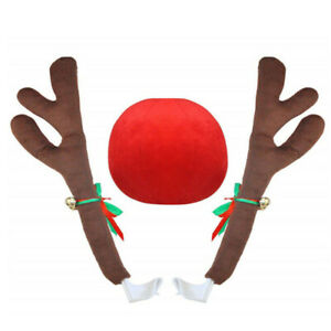 3pcs Set Car Red Plush Reindeer Christmas Antler Nose Auto Jingle Bell Accessory