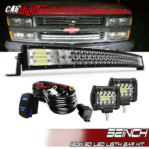 32 Curved Led Light Bar Flood Spot Combo Fit Chevy Silverado 1500 2500 3500