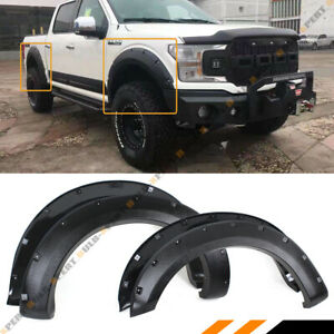 For 2018 19 Ford F150 Offroad Textured Black Pocket Style 4pc Fender Flares Kit