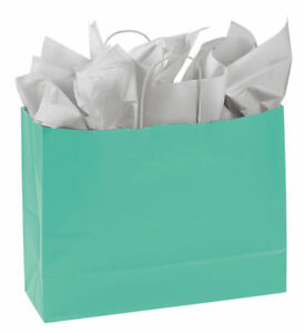Paper Shopping Bags 25 Turquoise Blue Retail Merchandise 16 X 6 X 12 Large