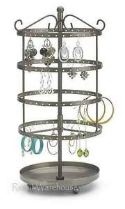 Earring Display Holds 72 Pr Jewelry Countertop Rack 13 H Rotating Spins Stand