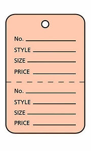 1000 Perforated Tags Price Sale 1 X 1 Two Part Pink Unstrung Tag Small