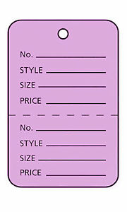 1000 Perforated Tags Price Sale 1 X 1 Two Part Purple Unstrung Lavender