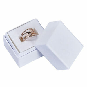 Ring Jewelry Boxes 100 Matte White Swirl 1 X 1 X 1 Lid Lidded Rings