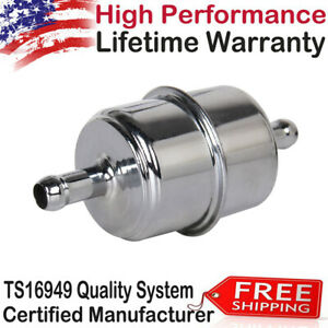9746 New Universial Chrome Plated Canister Fuel Filter 3 8 Id Hose Inline Us