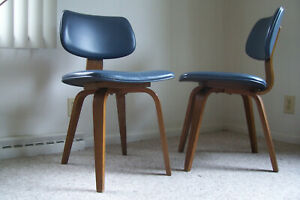 Mid Century Thonet Bentwood Modern Chairs Teal Blue