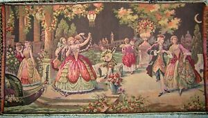 Vtg French Scene Victorian Royalty Dancing Garden Party Musician Tapestry 36x20