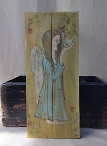 Antique Primitive Style Angel Folk Art Painting On Wooden Panel