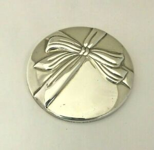 Tiffany Co Sterling Silver 925 Round Hand Held Pocket Purse Bow Mirror 3