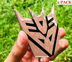 2 Pack Aluminum Transformers Autobots Decepticon Car Sticker Decal Emblem