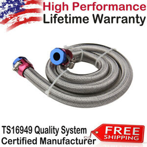1526 Universal Braided Stainless Steel Hoses Fuel Lines Kit 3 8 Inch For Cars Us