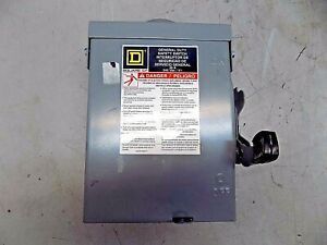 Square D Fused Safety Switch 2 pole 3r Nema Rated Dpst Contact Form D221nrb
