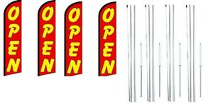 Open red Yellow Windless Flag With Complete Hybrid Pole Set 4 Pack