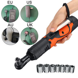 Electric Rechargeable Ratchet 90 Degree Right Angle Wrench Cordless Accessories