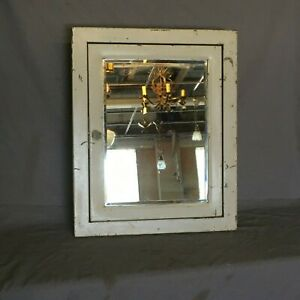 Vtg Industrial Metal Recessed Medicine Cabinet Cupboard Beveled Mirror 299 19e