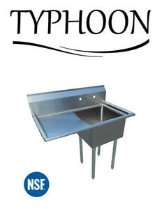 Single Compartment Commercial 52 18g Stainless Steel Sink 24 Left Drainboard