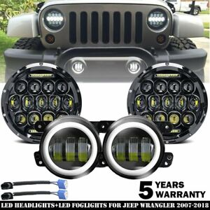 For Jeep Wrangler Jk 7 Led Halo Headlight Fog Lights Combo Kit 07 17 Light Bulb