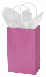 Hot Pink Paper Bags 25 Retail Merchandise Shopping Gift Magenta 5 X 3 X 8
