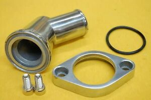 Sbc Bbc Chevy Polished Aluminum 45 Swivel Water Neck Chevy Thermostat Housing