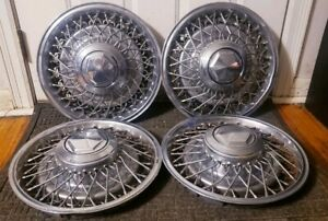Set Of 4 1979 89 Dodge Chrysler Plymouth Rwd 15 Wire Spoke Hubcap Wheel Covers