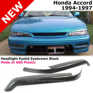 For Honda Accord 94 97 Bumper Headlight Lamp Cover Mask Eyelid Eyebrow Abs Black