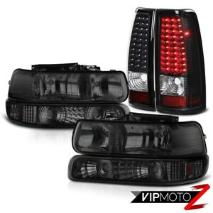 Pair Smoke Headlamps Bumper Black Tail Lights 1999 2002 Silverado Duramax 6 6l