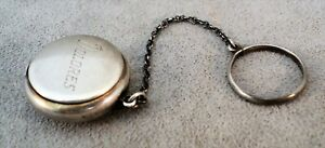 Vtg Sterling Silver Chatelaine Coin Purse Pill Box Tiny Compact On Finger Ring