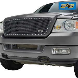Eag Fit 2004 2008 Ford F150 Black Rivet Steel Mesh Grille Insert