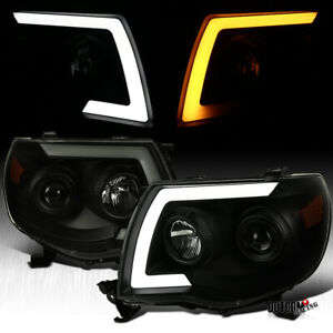 For 2005 2011 Tacoma Black Smoke Led Sequential Signal Projector Headlights Pair