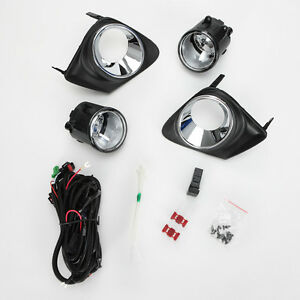 For 2011 2013 Toyota Corolla Clear Fog Light Kit Switch Bezel Wiring Left Right
