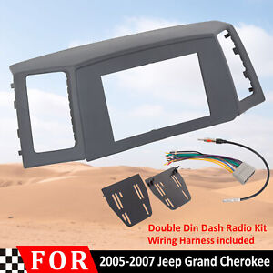 Double Din Radio Install Dash Kit Wiring Harness Fits 05 07 Jeep Grand Cherokee