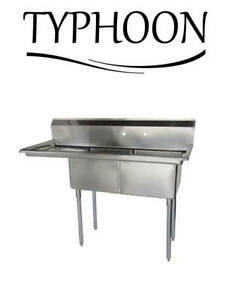 Two Compartment Commercial 76 18g Stainless Steel Sink 24 Left Drainboard