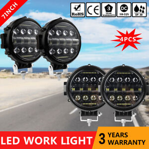4x 7 Inch Round Led Work Lights Driving Headlight Spot Drl Offroad Truck Suv 4wd