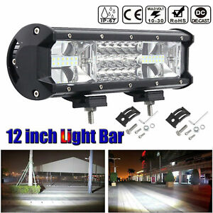 12 Inch Cree Led Light Bar Triple Row Combo Beam Work Driving Lamp 4wd Offroad