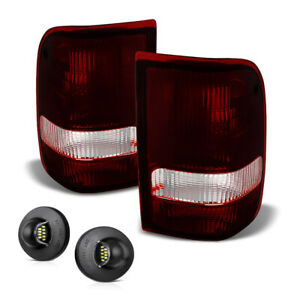 93 97 Ford Ranger smoke Red Tail Lamp Tail clear Led License Plate Light Set