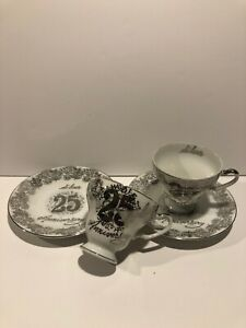 Vintage Norcrest Fine China 25th Anniversary Tea Cup And Saucer Silver C 743