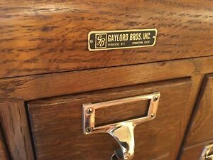 Vintage 1 4 Sawn Oak Library 30 Dr Card Catalog Cabinet Brass Pulls Beautiful