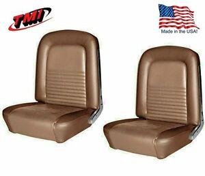 1967 Mustang Front Bucket Seat Upholstery Pair Saddle By Tmi In Stock