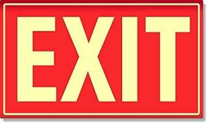 Exit Sign Photoluminescent Aluminum Red Safety Signs Signals Glow In The Dark