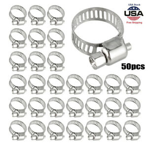 50pcs 1 2 3 4 Adjustable Stainless Steel Drive Hose Clamp Fuel Line Worm Clips