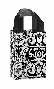 Plastic Bags 150 Black White Damask Frosted Frosty Merchandise Gift 5 X 3 X 7