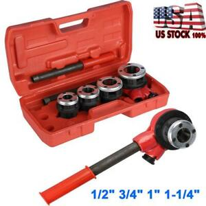 Manual Plumber Pipe Threading Kit 1 2 3 4 1 1 1 4 4 Dies Threader Tool Usa