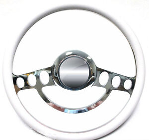 Ford Hot Rod Or Truck Billet White Steering Wheel Fits Ididit River Column