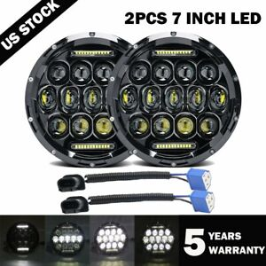 2x 7inch Round 280w Total Led Headlights Hi Lo For 97 17 Jeep Jk Tj Lj Wrangler