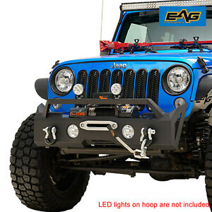 Eag Front Stubby Bumper Black W Winch Mount Plate Fit For 07 18 Jeep Jk Wrangler