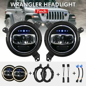 2pcs 7inch Round Led Headlights Mount Brackets For Jeep Wrangler Jl 2018 2019