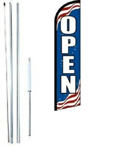 Open patriotic Windless Swooper Flag With Complete Hybrid Pole Set